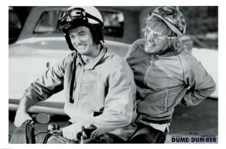 Lloyd and Harry from Dumb and Dumber on their moto