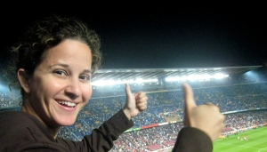 Cheering for Barca at the recent game vs. Sevilla