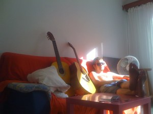 Rohan with our two guitars, awww