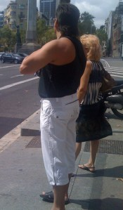 A man with a mullet, a pseudo tank top AND capri pants, wow!